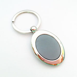 Customized Zinc Alloy Oval Keyring with Stainess Steel Sticker (F1185) pictures & photos