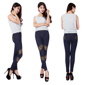 New Imitated Denim Fashion Jean Legging Slim Fit Pencil Jeans Trousers Casual Women Ladies′ Pant