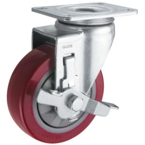 Medium Duty Single Bearing PU Caster (Red) (G3206) pictures & photos