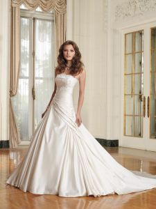 Mermaid Cap Sleeve Open Back Sweep Train Lace Bodice Wedding Bridal Gown (YY1058)