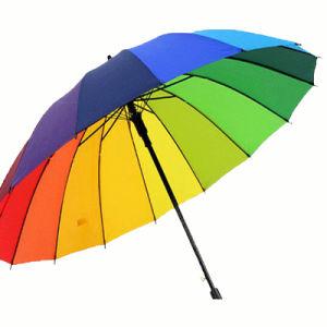 Cheap Custom Print Windproof Big Rainbow Advertising Golf Umbrella pictures & photos