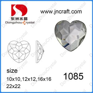 Decorative Faceted Flat Back Heart Crystal Glass Stone for Wedding Dress pictures & photos