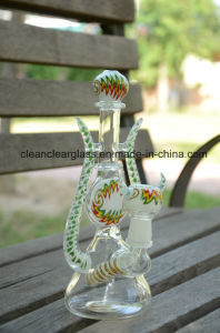 Red Heady Glass Water Pipe with Colored Glass Bowl and Holes Diffusor pictures & photos