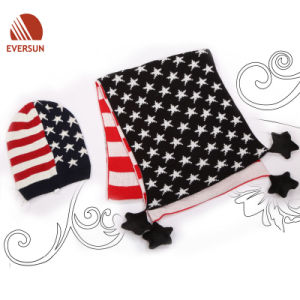 Acrylic Knitted Us Flag Star Jacquard Hat and Scarf