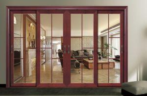Aluminium+Glass Classic Wood Grain Sliding Door Customized Interior Door pictures & photos