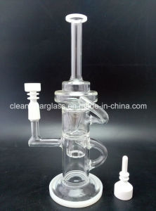 Clear Glass Oil Rig Recycler Water Pipe Wholesale with Showerhead Perc