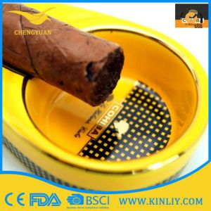 Excellent Quality Ceramic Souvenir Cigarette Ashtray Daily Use Yellow pictures & photos