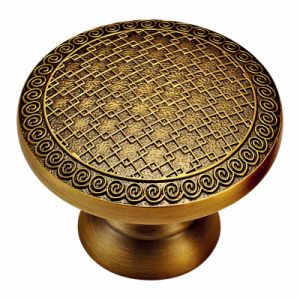 Solid Forged Brass Furniture Knob and Handle with Gold Line Patterns pictures & photos