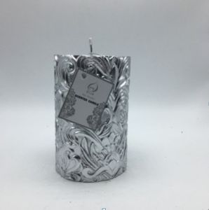 Silver Flower Designed Handmade Pillar Candle for Home Decoration pictures & photos