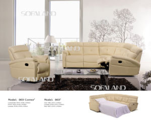 Beige Color 5 Seat High Back Leather Corner Sofa pictures & photos