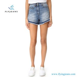 High Rise Fashion Jeans Mini Pants Patched/ Shadow Pockets Women/Lady Skinny Denim Shorts pictures & photos