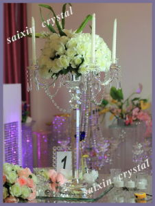 High Quality 5 Arms Crystal Candelabra with Flower Holder Zt-112c-2