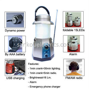 Rechargeable Dynamo LED Lantern with FM/Am Radio and Phone Charger