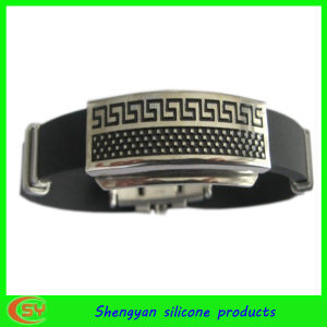 Silicone Men′s Bracelet with Staniess Sheet (SY-HS-005)