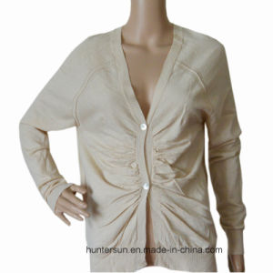 Women Crinkle on Front Long-Sleeve Cardigan Sweater (HS5522)