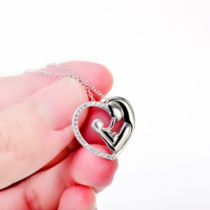 925 Sterling Silver Necklace Mother and Child Love Heart Pendant Necklace for Women Fine Jewelry pictures & photos