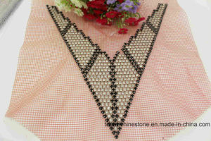 Crystal Glass Beads V Neck Rhinestone Sew on Lace Patch (TA-012) pictures & photos