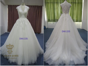 A-Line/Princess V-Neck Court Train Tulle Wedding Dress with Beading pictures & photos