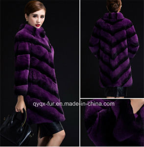 High-Grade Luxurious Real Rex Rabbit Fur Overcoat (Qx-Cc34) pictures & photos