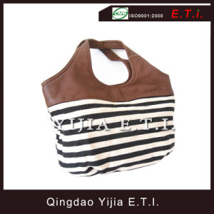 Striped Cotton Canvas Tote Bag with Leather Handle pictures & photos