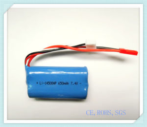 Lithium Rechargeable Battery 14500HP-650mAh 7.4V for Remote Controlled Toys, High Power, Li-ion Battery Pack