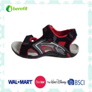 Red and Black PU Upper, TPR Sole, Men′s Sandals pictures & photos