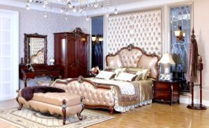 European Wood Bedroom Furniture with Teak Colour