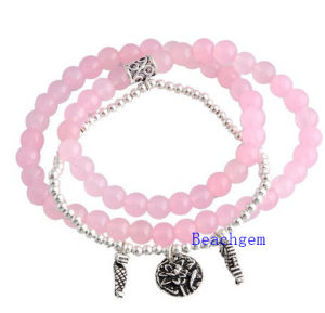 Natural Rose Quartz Beads Bracelet with Silver Charm (BRG0017)
