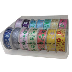 Flower Design Printed Satin Ribbon and Grosgrain Ribbon with PVC Box Packing