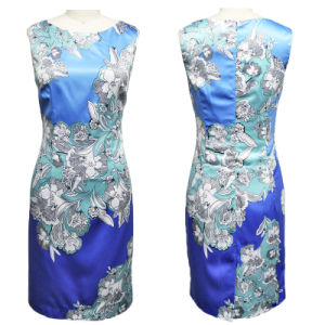 Flowers Blue Printed Dress for Office Ladies (1-S34-320)