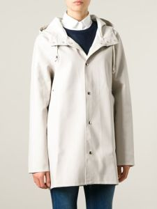 Hooded White PVC Polyester Long Raincoat for Women pictures & photos