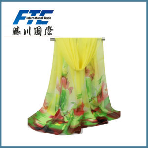 Lady Fashion Flower Printed Silk Chiffon Infinity Spring Scarf pictures & photos