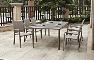 Stackable Chair and Sprayed Stone Dining Set