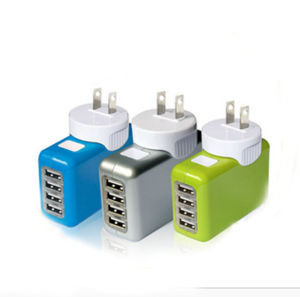 New 4 USB Port Wall Adapter with Able EU/Aus/Us/UK Plugs