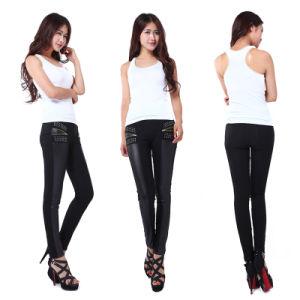 Hot Sale Front Imitation Spell Leather Back Cotton Leggings Slim