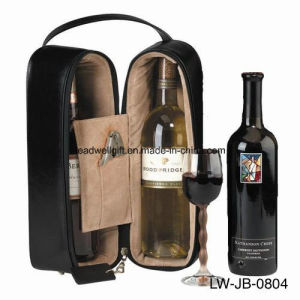 Black Royce Leather Double Wine Bottle Holder Display Rack Furniture pictures & photos