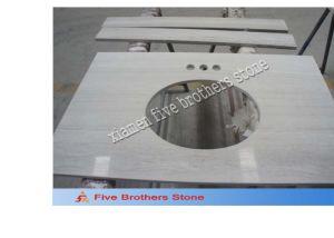White Stone Wooden Vein Bathroom Furniture Marble Granite Vanity Top