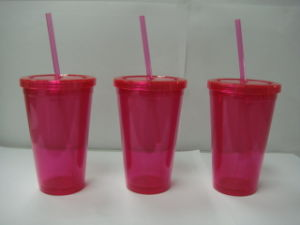 Single Wall Plastic Straw Cup with Logo Printing pictures & photos