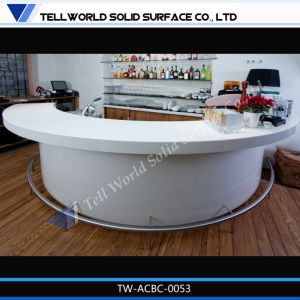 Modern LED Lighted Half Semi Circular Bar Counter Furniture Artificial Marble Semi Circle Bar pictures & photos