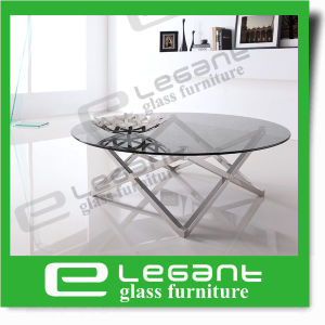 Oval Black Glass Coffee Table with Carved Stainless Steel Support pictures & photos