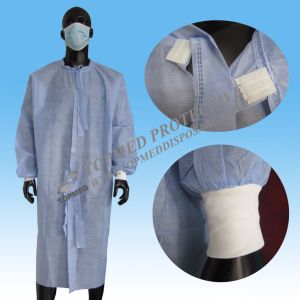Disposable PP/SMS Nonwoven Spunlace Surgical Gown pictures & photos