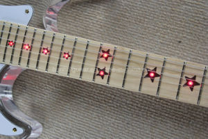 Hanhai Music/St Style Acrylic Glass Electric Guitar with LED Light Fingerboard pictures & photos