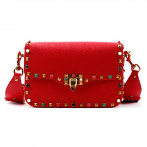 2017 New Lady Tote Bag Wide Colorful Strap Bags Genuine Leather Hand Bag Fashion Studded Women′s Bag Lady Designer Handbag Emg4768 pictures & photos