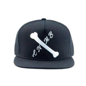 Black 5 Panels Acrylic Flat Brim Snapback Caps and Hats pictures & photos