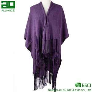 Fashion Women Woven Shawls with Tassels Winter Warm Cape pictures & photos