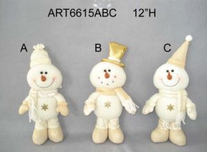 White and Gold Standing Snowman Holiday Decoration-3asst. pictures & photos