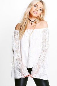 off Shoulder Lace Blouse pictures & photos