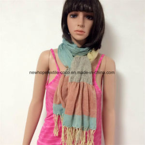 100% Polyester Wrinkled Style Scarf with Gradually Col pictures & photos