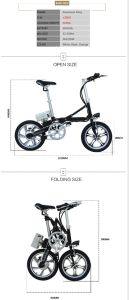 16 Inch Pneumatic Tire Disc Brakes Electric Bike Folding Bike pictures & photos