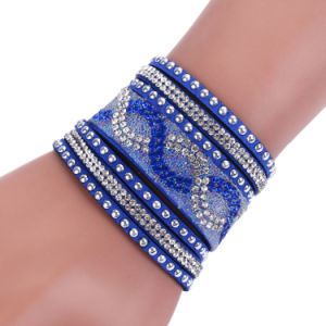 Fashion Resin Crystal Woman Bangle Leather Bracelet Jewelry pictures & photos